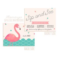 20 FLAMINGO Sip and See Invitations - double sided and printed Invitation on Etsy, $38.00