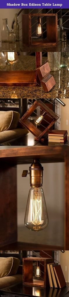 Shadow Box Edison Table Lamp. Featured is a beautiful handcrafted wood shadow box stained red mahogany, distressed to a wonderful finish and complimented with tung oil. An antique brass finish, single turn with removable antique style paddle turn knob socket is the center point to this lamp. Included with lamp is a tilt block to offset lamp for an angled look if desired. All wiring has been hidden inside the wood to keep a clean look to this lamp. This light would add some industrial…