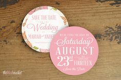 Round Vintage Save the Date Floral