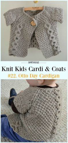 Free knitting pattern by Otto Day Cardigan - knit Children Sweater Free Patterns Free Baby Patterns, Kids Knitting Patterns, Kids Patterns, Knitting For Kids, Crochet For Kids, Free Knitting, Free Pattern, Beginner Knitting, Scarf Patterns