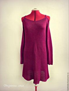 """Вязаное шёлковое платье """"Шёлковый аккорд"""" - фуксия,платье,платье летнее"""