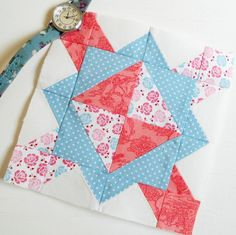 The Splendid Sampler Block no. 6 - Focal Point.  Adding 'pink' into the colour mix for this block.  So far I have red, white, turquoise, pale blue and now pink.