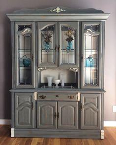 Gray china cabinet