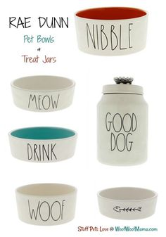 Rae Dunn Pet Bowls and Treat Jars | Woof Woof Mama