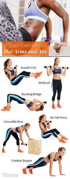 6 Quick Exercises For Hot Arms & Abs!