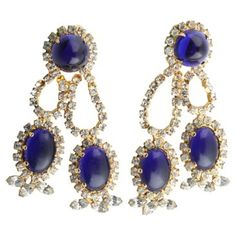 Check out this item at One Kings Lane! 1960s KJL Faux-Lapis Earrings