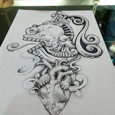 #orion #sketchstyle #puntillism #skull #mictlantecuhtli #heart #matoner #shajid #njart #tattooart