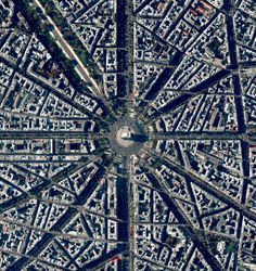 Arc de Triumphed Paris, France - photo from dailyoverview  (7/14/2016);  Photo taken on Bastille Day (La Fête National), a French holiday commemorating the start of the French Revolution in 1789.