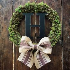 Summer Moss Wreath initial moss wreath Fall Moss by SolidWoodDoor