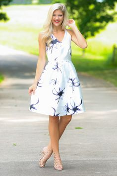 There She Is White Floral Print Dress $39.00