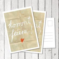 52 Einladungskarten- Kommt feiern! Postkarte von EINE DER GUTEN - Bücher für ein tolleres Leben auf DaWanda.com