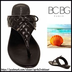 """BCBG SANDALS Thin Flat Sandals BCBG Thin Flat Thong Sandals 💟NEW WITH TAGS💟Retail: $65   * Thong toe (flip flop style) slip on style  * Quilted pattern across the gladiator style vamp w/a faux leather bow  * Slip on style  * Approx. 0.75"""" wedge heel back, ballet flat style front  * Open toe style  * True to size.                                            Material: Manmade upper & sole Color: Black Item:93900  🚫No Trades🚫 ✅ Offers Considered*✅ *Please use the blue 'offer' button to…"""