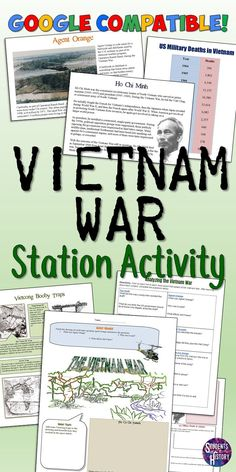 This great lesson plan on the Vietnam War has your students rotate through 7 stations to learn about important aspects of America's War in Vietnam. Each station engages different aspects of the war… World History Classroom, High School History, Ap World History, Teaching History, American History, Modern History, American Literature, British History, Ancient History