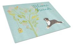 Welcome Friends Bernese Mountain Dog Glass Cutting Board Large BB7579LCB