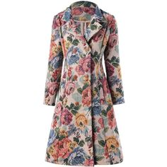 A line Double breasted Floral Trench Coat ($36) ❤ liked on Polyvore featuring outerwear, coats, rosegal, double-breasted trench coats, floral print trench coat, double-breasted coat, a-line coats and floral coats