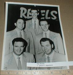 The Rebels 1950s B&W 8x10 Promo Photo Autographed RARE Jimmy Taylor Lee Kitchens