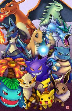 Pokemon - The Favorites by TyrineCarver on DeviantArt Pikachu Drawing, Pikachu Art, Mega Pokemon, Pokemon Eeveelutions, Pokemon Charizard, Cute Pikachu, Pokemon Fan Art, Pokemon Tattoo, Cool Pokemon Wallpapers