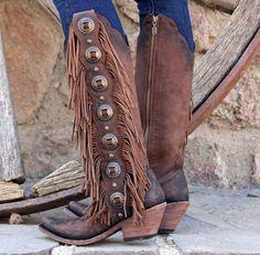 concho fringe tall boots in distressed leather - me like