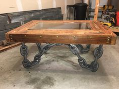 Anchor Chain Coffee Table by PieceofWorkLLC on Etsy Anchor Chain, Metal Table Legs, Man Room, Dark Interiors, Table Desk, Industrial Furniture, Metal Working, Projects To Try, Coffee
