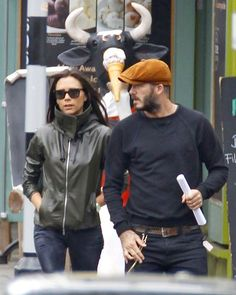 Victoria and David Beckham strolling in London