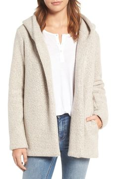 James Perse Hooded Bouclé Open Jacket available at #Nordstrom