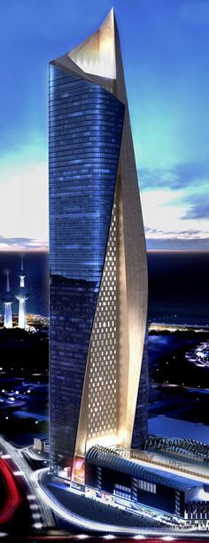 Al Hamra Firdous Tower, Kuwait City, Kuwait by Skidmore, Owings & Merrill (SOM) Architecture :: 74 floors, height 412m