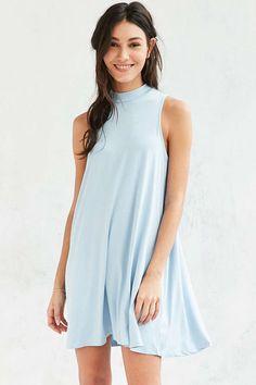 Silence + Noise Mock-Neck Mini Swing Dress - Urban Outfitters