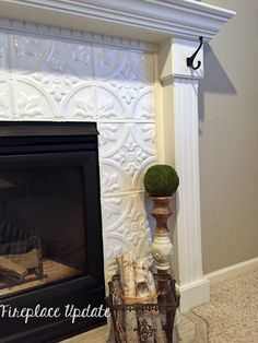 Home Renovation Fireplace Naughton your life: Fireplace Makeover with Tin Tile - Let's just cut to chase and start with the before of my fireplace. The pros of this fireplace are the large size, lack of brass, a. Tile Around Fireplace, Fireplace Tile Surround, Slate Fireplace, Fireplace Update, Farmhouse Fireplace, Fireplace Remodel, Fireplace Surrounds, Fireplace Design, Fireplace Mantels