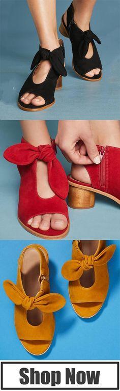 2428fb7078b Plus Size Bow Peep Toe Heels Zipper Chunky Heel Booties