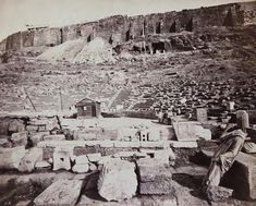 The theater of Dionysus and the southern slope of the Acropolis James William Stillman 1869 Greek History, Williams James, Getty Museum, Bacchus, Dionysus, Ancient Greek, Graphic Prints, Athens, Old Photos
