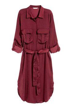 Satin shirt dress - Burgundy - Ladies   H&M GB