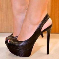 Shoespie Slingback Strap Peep-toe Platform Heels