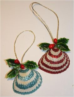 Glittered seashell ornaments.