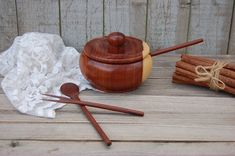 Condiment Bowl Teak Wood Bowl Spoon Fork от TheVintageArtistry
