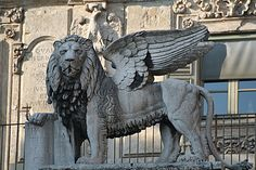 Winged Lion of St Mark of Venice  Saint Mark is traditionally represented by the Lion.   http://en.wikipedia.org/wiki/Lion_of_Saint_Mark