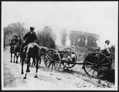 A team of horses or mules is pulling an empty limber along a dust track. Cloth sacks have been tied to a metal rail along its side. At the back of the limber, a man in shirtsleeves balances next to the wheel. The 'limber' is the detachable front part of a horse-drawn gun carriage. In this instance it is being used to transport food and equipment. This is a good example of the resourcefulness of the men at the Front.  This photograph was very likely taken by the British official…