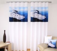 Modro biele závesy na okná s motívom bielej lode Stylus, Curtains, Shower, Prints, Home Decor, Rain Shower Heads, Blinds, Decoration Home, Style