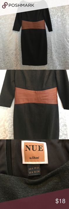 NUE grey dress Gray three quarter sleeve dress with faux leather waist accent in brown. NUE by Shani Dresses Midi