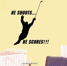 Hockey Player Sports game----Removable Graphic Art wall decals stickers home decor on Etsy, $26.49 CAD