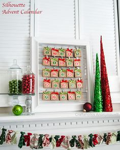"""Colorful and festive Christmas Countdown! Love the """"Brown Paper Packages"""" theme and the fantastic holder! Plus exclusive Silhouette discount code."""