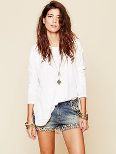 Free People Majestic Detail Short, $98.00 perfect to wear over a bathing suit at the beach! (epecially one with gold on it. it would match perfectly!)