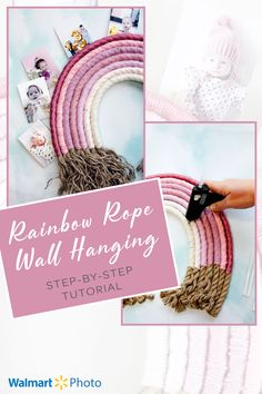 Make your own Rainbow Rope Wall Hanging with simple materials and this easy tutorial! Print and clip on your favorite photos with Walmart Photo's same-day services! #ad Fun Crafts To Do, Easy Diy Crafts, Diy Craft Projects, Photo Wall Hanging, Hanging Photos, Walmart Photos, Rainbow Wall, Sewing Blogs, Diy Wall Art