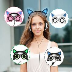 Type: Creative personality cat ears headset hair head wear LED headphones. Light pattern: Flash. We will send you a new replacement after receiving the defective item. Plug Type: Line Type. Resistance: 32Ω. | eBay!