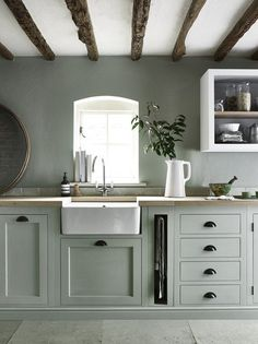 41 Delicate Country Kitchen Design Ideas That You Need To Try - If you want to bring a more simple, rustic feel into your home, then you might want to consider all of the modern country kitchen designs out there to. Cabinet Paint Colors, Kitchen Cabinet Colors, Painting Kitchen Cabinets, Kitchen Shelves, Kitchen Colors, Kitchen Paint, Kitchen Utensils, Kitchen Without Wall Cabinets, Country Kitchen Cabinets