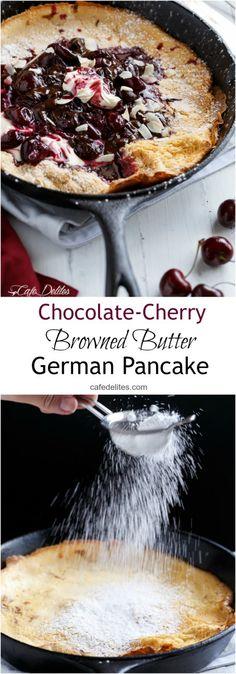 Chocolate-Cherry German Pancake (or Dutch Baby Pancake) | http://cafedelites.com