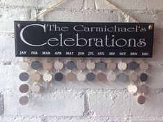 Family name Wooden celebrations Organiser, personalised Birthday Board, black sign, wall diary, decorative calendar, hanging wall calendar by AceSentimentalGifts on Etsy https://www.etsy.com/uk/listing/490606957/family-name-wooden-celebrations