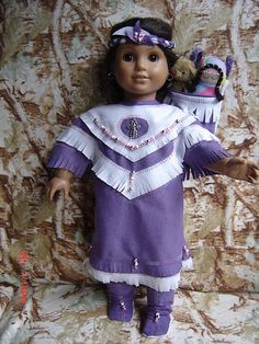 Long Lilac Indian Dress Papoose for Kaya American Girl Molly Addy All Dolls | eBay