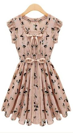 Pink Sleeveless Belt Deer Print Chiffon Dress - Sheinside.com