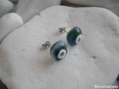 Cool stud earrings from bluegreen&clear glass with a white Fused Glass, Clear Glass, Glass Earrings, Stud Earrings, Surgical Steel Earrings, Blue Green, Cool Stuff, Flowers, Handmade