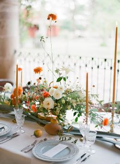 A dreamy wedding inspiration that we just have to share! Captured by Jose Villa Photography, you will find romance, ethereal, and elegant vibes Wedding Table Settings, Wedding Reception Decorations, Wedding Centerpieces, Table Decorations, Orange Wedding Flowers, Wedding Colors, Mod Wedding, Floral Wedding, Marigold Wedding